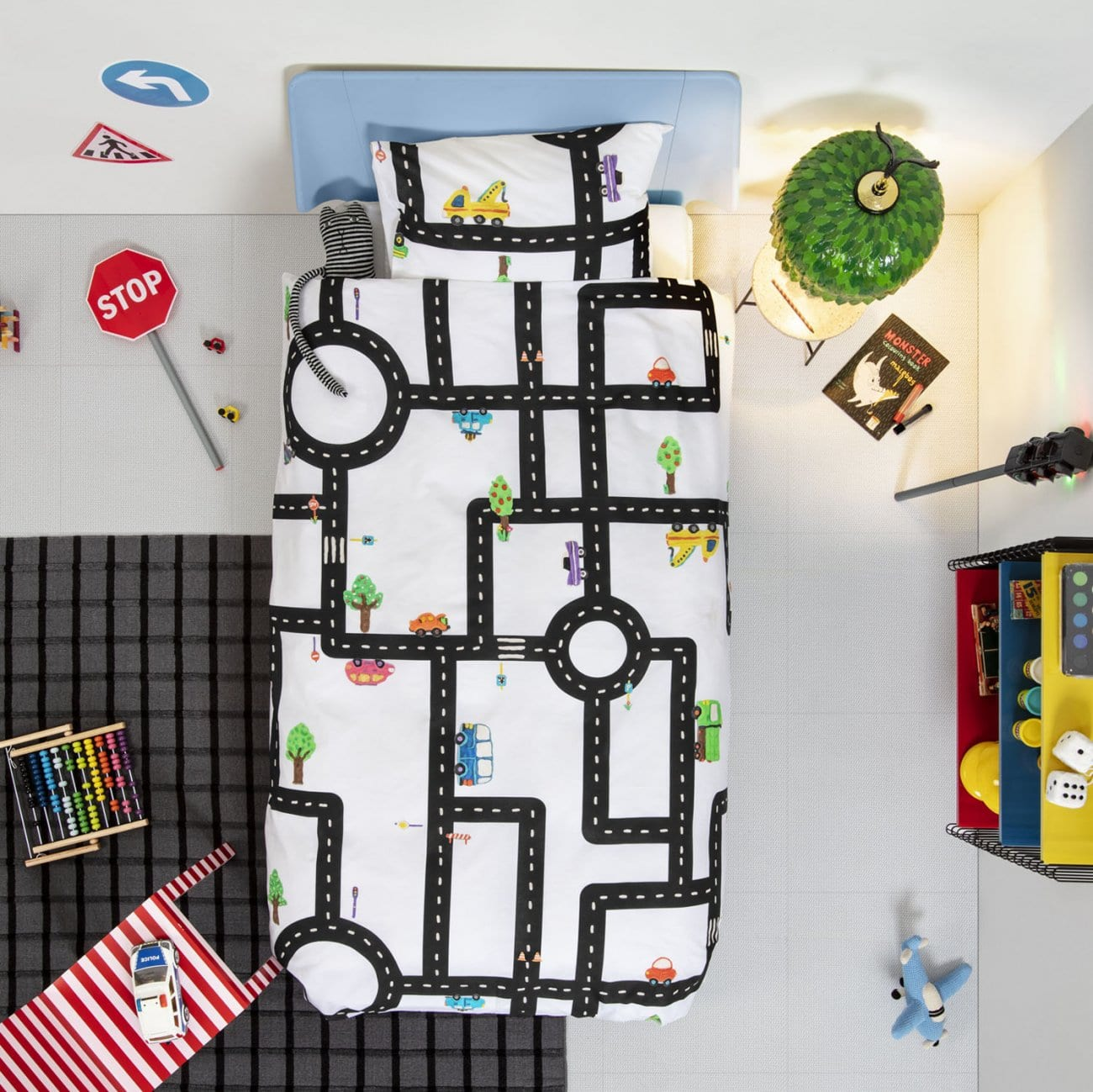 Traffic-Cars-Play-Dough-Clay-Duvet-Set-for-Kids-Children-Pure-Cotton-City-Roads-Bedding-Pillowcase-White