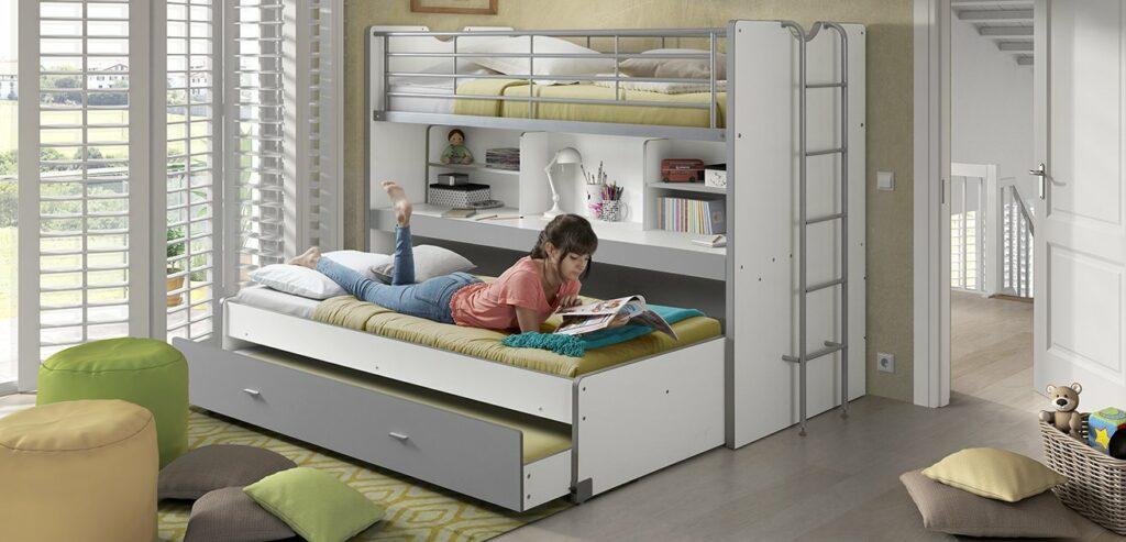 Bentley Compact 3 in 1 Highsleeper Bed White Bedroom Teen Kids Children Grey Storage Desk Sleepover Loft 1