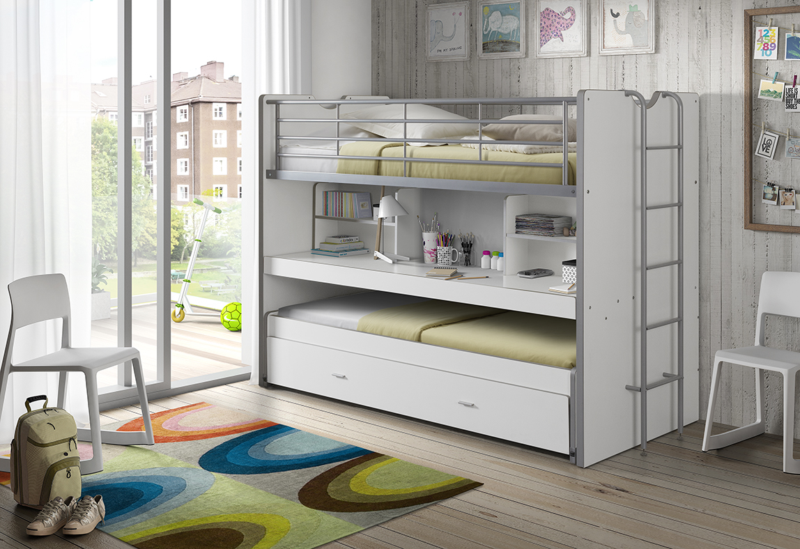 Picture of: Bentley Bed White 3 In 1 Space Saver Bunk With Trundle Bed And Desk