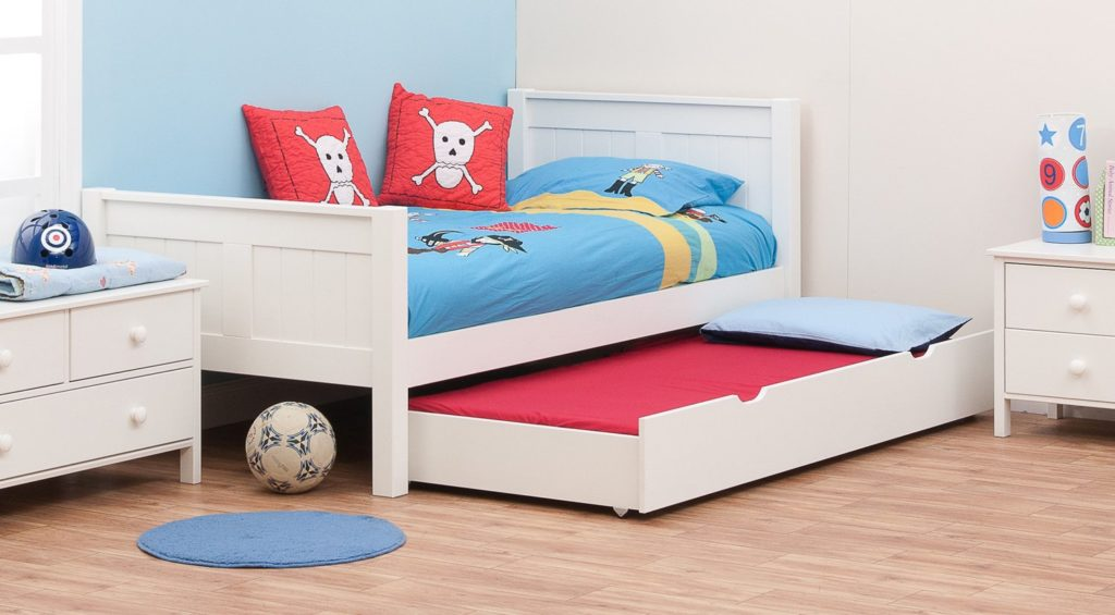 Classic White Single Bed for Kids, by Stompa with Underbed Trundle 1