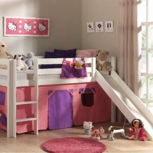 Dakota Mid Sleeper Bed with Slide - Pink/Violet