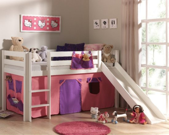 Dakota Midsleeper Bed with Slide - Pink/Violet