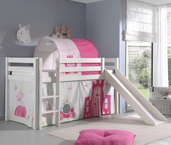 Dakota Mid Sleeper Bed with Slide - Princess