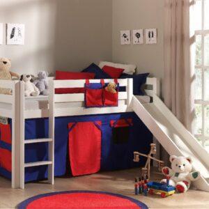 Dakota Mid Sleeper Bed with Slide - Red/Blue