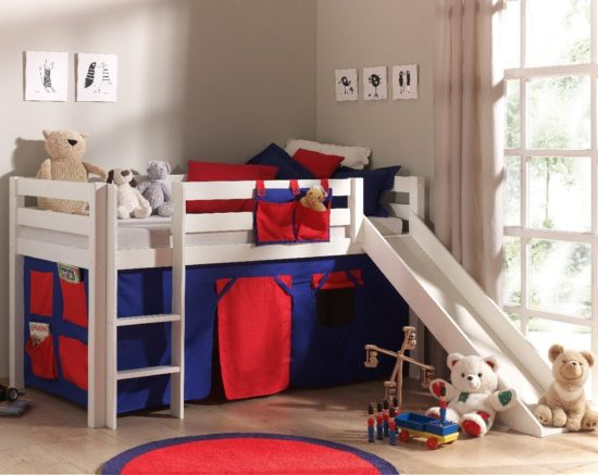 Dakota Mid Sleeper Bed with Slide - Red/Blue