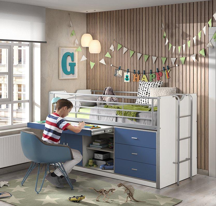 Devon Compact Midsleeper Bed Blue and White Bedrooms Kidsroom Teens Kids Children Storage Sliding Desk