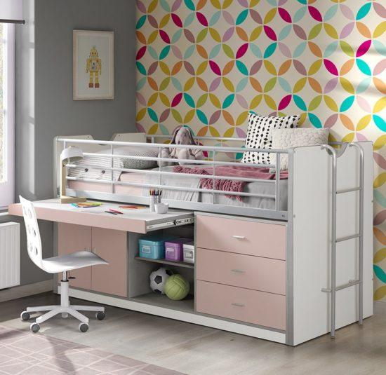 Devon Compact Mid Sleeper Bed - Pink
