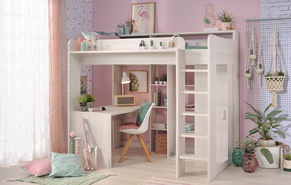 Reece Highsleeper Bed for Kids Children Teen Bedroom Nordic Ash Kidsroom Furniture Storage Shelving Unit Girls Desk