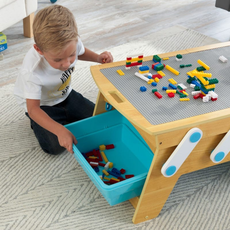 Building Bricks Play N Store Table for Kids Children Playroom Furniture Lego Play