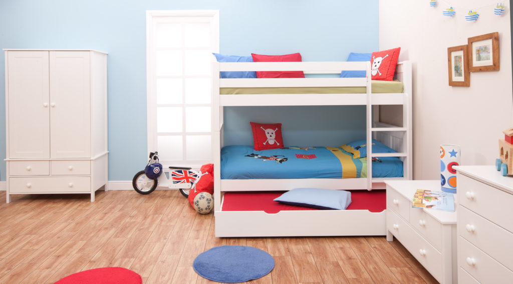 Shared Space for Siblings Classic Bunk Bed with Underbed Trundle