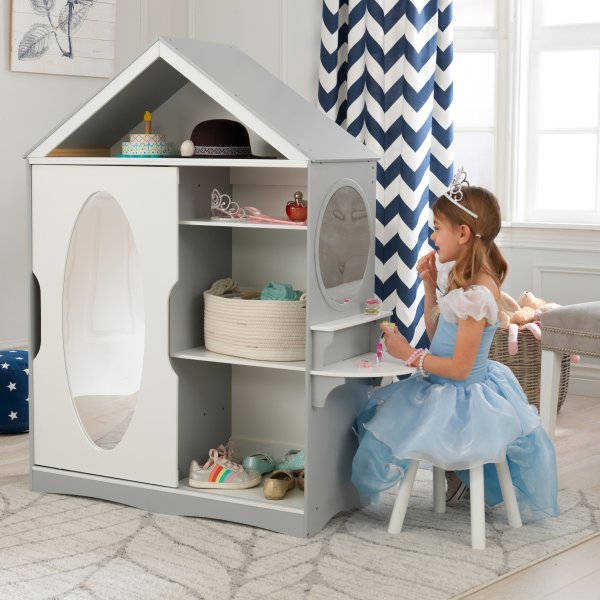 Dress Up Armoire And Vanity Dollhouse For Kids Children