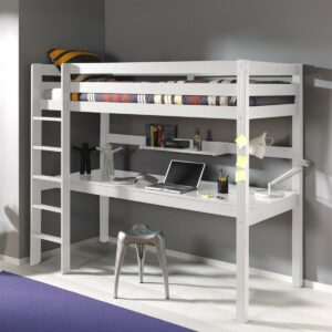 Arden High Sleeper Bed with Long Desk & Shelf - White