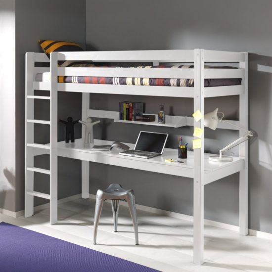 Arden High Sleeper Bed with Long Desk & Shelf - White