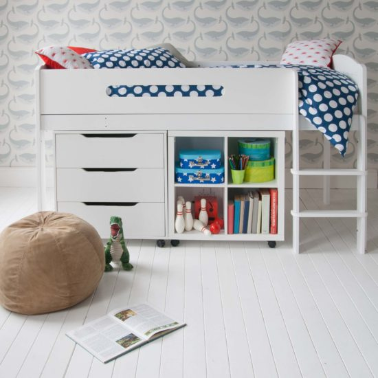 Cubix Mid Sleeper Bed with Bookcase & Chest of Drawers - White by Little Folks