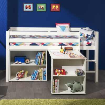 Emerson Mid Sleeper Bed with Bookcase & Desk - White
