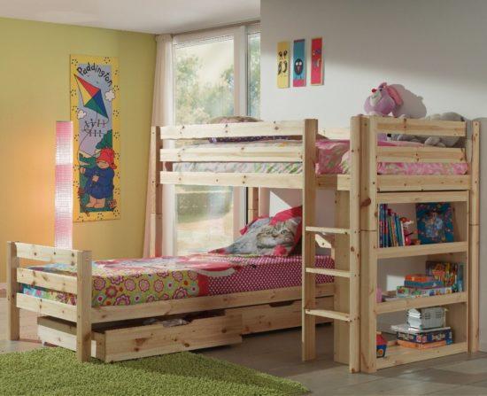 Pino L-Shaped Bunk Bed - Natural