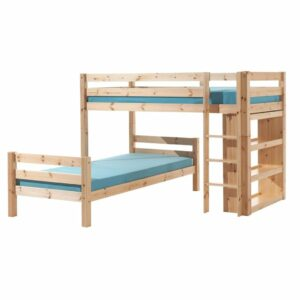 Pino L-Shaped High Sleeper Bed with Bookcase - Natural