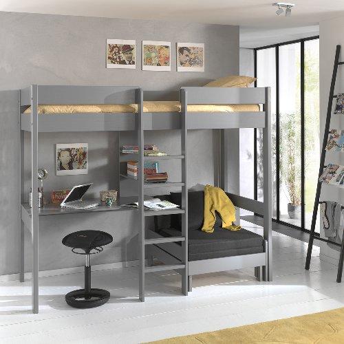 Skyler High Sleeper Bed with Sofa Bed - Grey