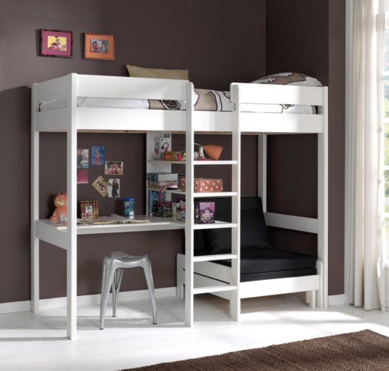 Skyler High Sleeper Bed with Sofa Bed - White