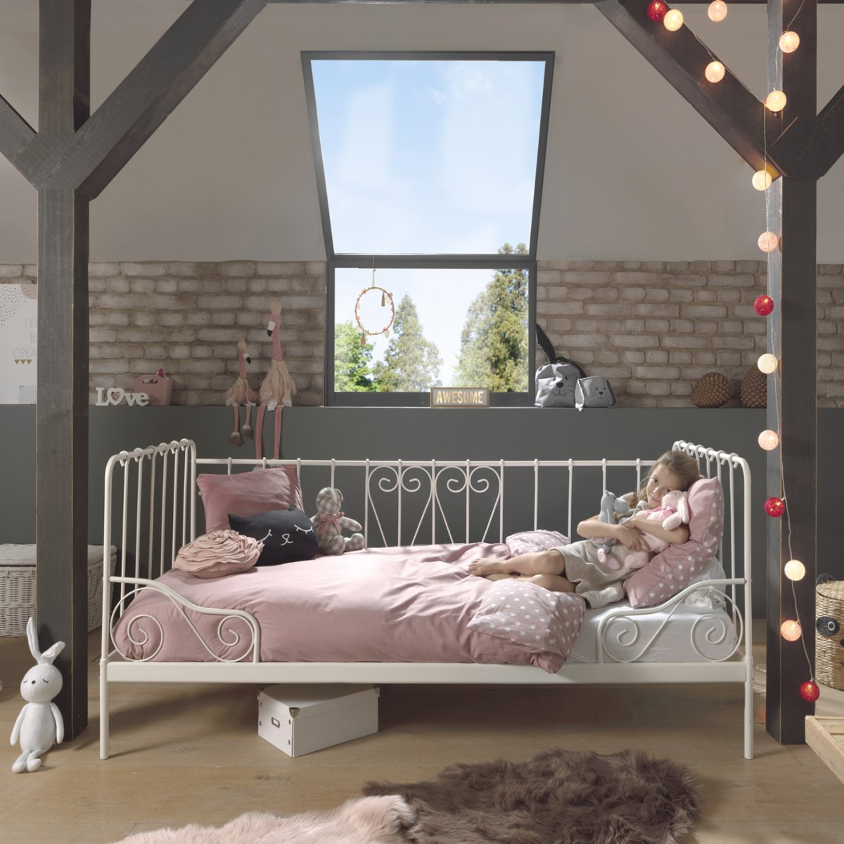 Picture of: Alice Metal Day Bed Black Stylish Bedroom Furniture For Kids