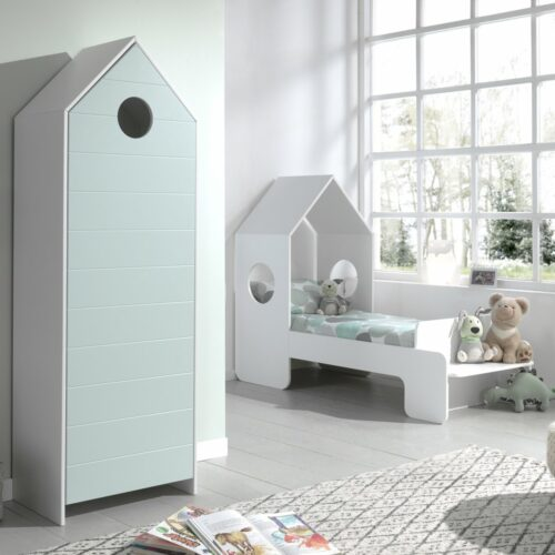Casa Storage Unit with Mint Door (horizontal grooves)