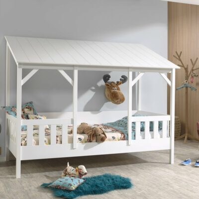 East Port House Bed with Slats & White Roof - White