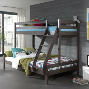 Family Double Bunk Bed, Solid Wood - Taupe Grey