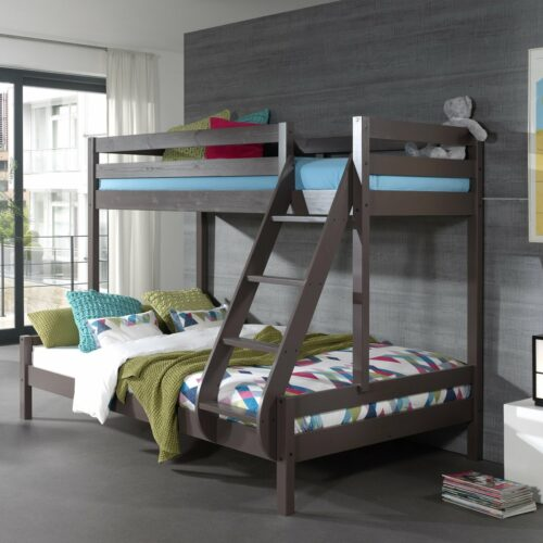 family double bunk bed solid wood taupe grey for kids bedrooms