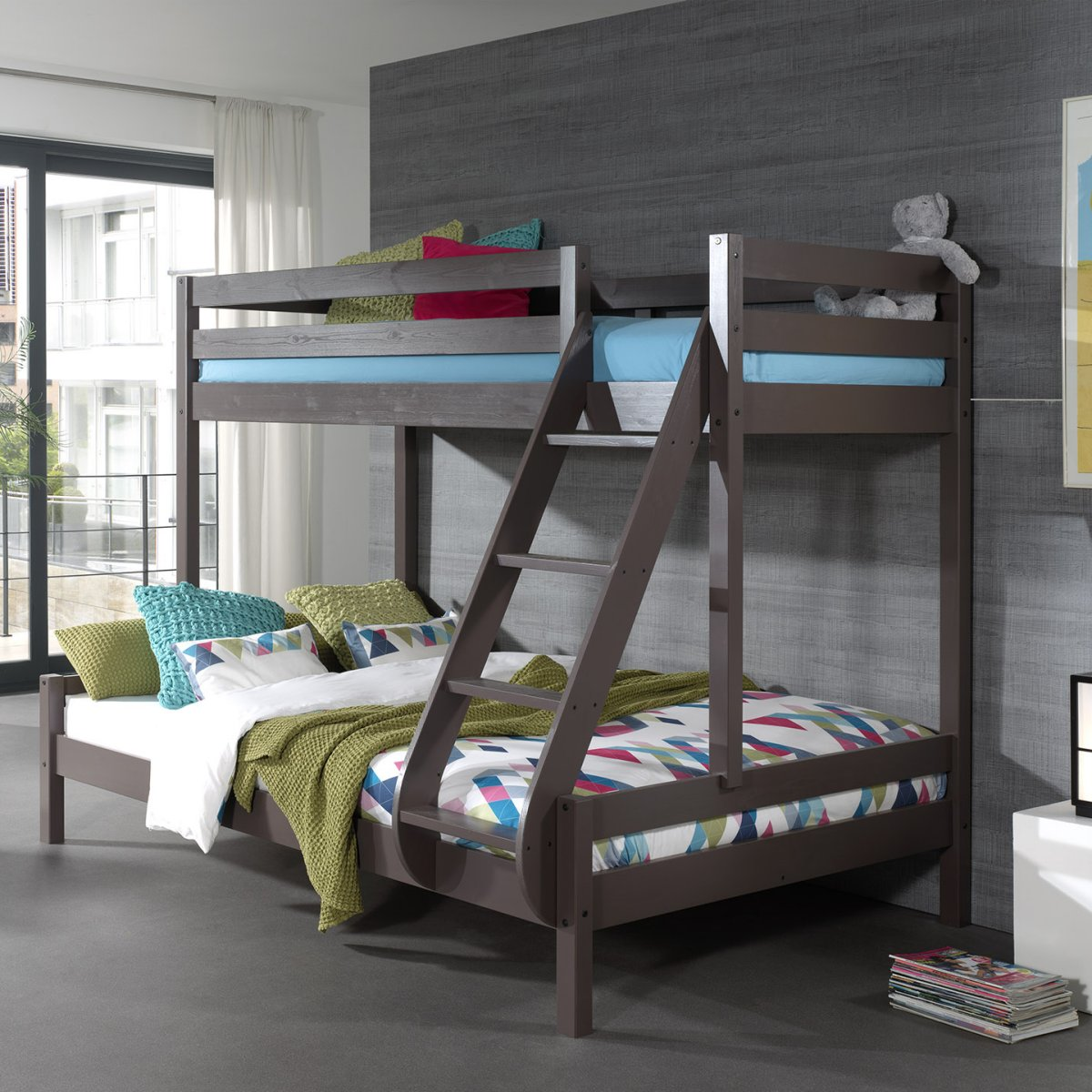 Picture of: Family Double Bunk Bed Solid Wood Taupe Grey For Kids Bedrooms