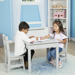 Wooden Play Table & 2 Chair Set - Grey