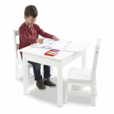 Wooden Play Table & 2 Chair Set - White