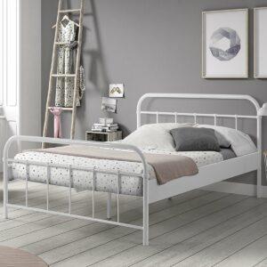 Boston Metal Bed incl Slats - White (Double, Extra Length)