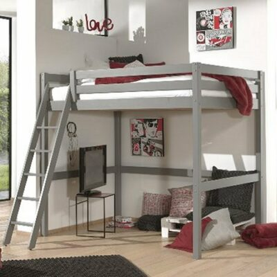 Mezzanine High Sleeper Bed - Grey (Double, Extra Length)