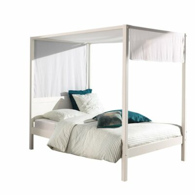 Quinn Four Poster Canopy Bed - White (Double, Extra Length)