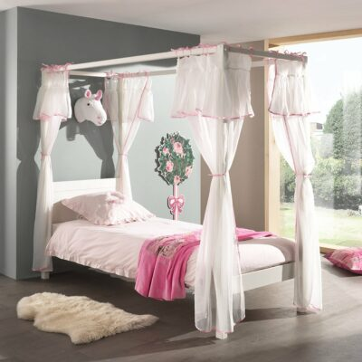 Quinn Four Poster Canopy Bed - White (Single, Extra Length)