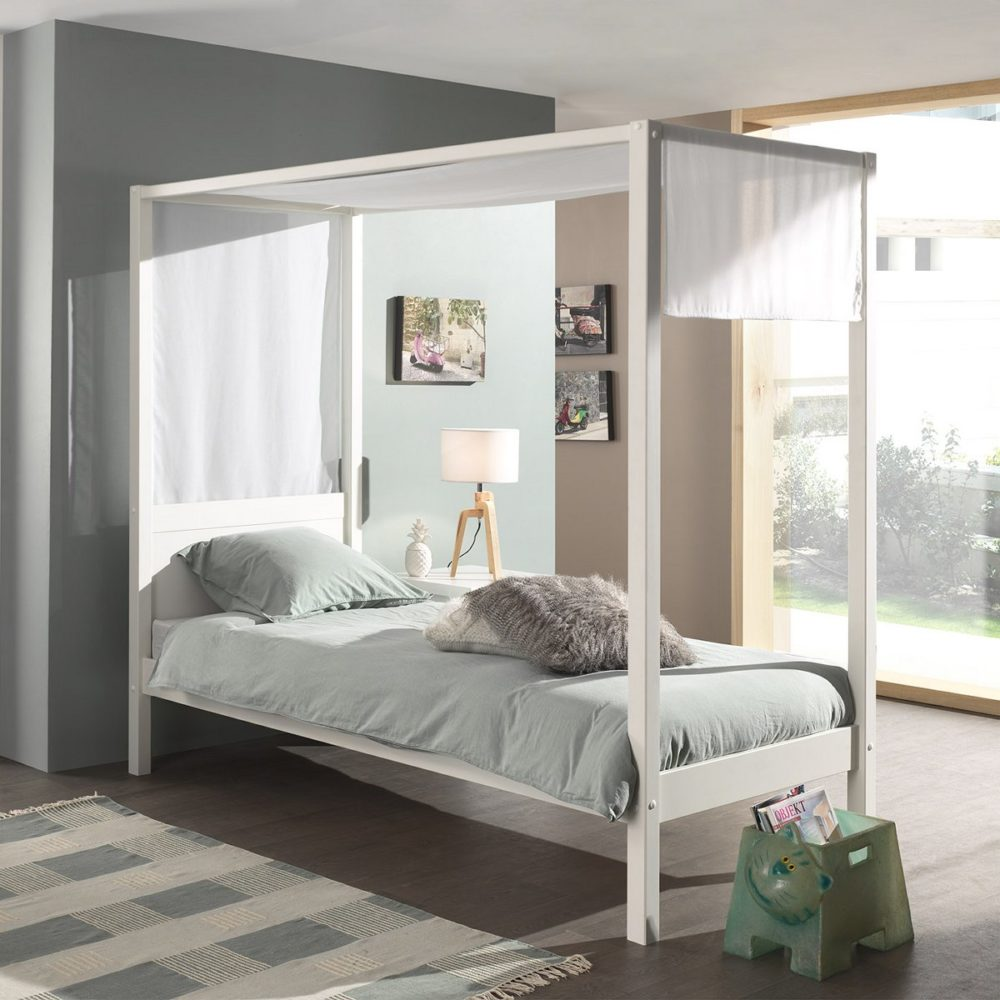Quinn Single Four Poster Canopy Bed White for Kids and ...