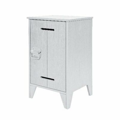 Locker Nightstand, Solid Wood - Concrete Grey