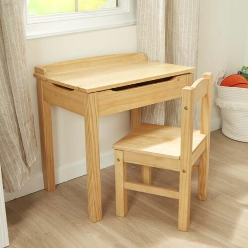 Wooden Lift-Top Desk & Chair Set - Honey