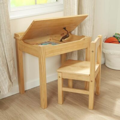 Wooden Lift-Top Desk & Chair Set - Honey