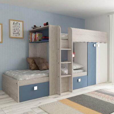 Bolton Bunk Bed (Bo1) - Cascina/Blue by Trasman