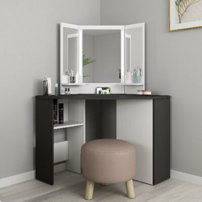 Chic Corner Dressing Table - Grey/White by Trasman