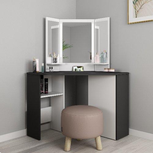 Chic Corner Dressing Table - Grey/White by Trasman