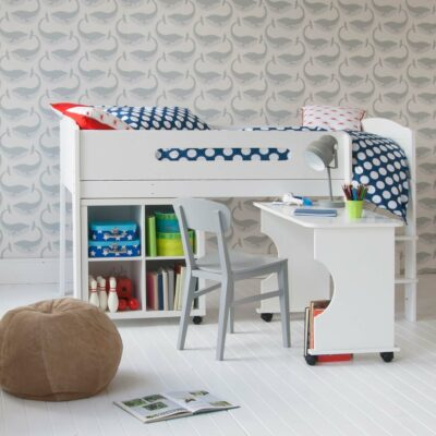 Cubix Mid Sleeper Bed with Roll-out Desk & Bookcase - White by Little Folks