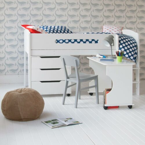 Cubix Mid Sleeper Bed with Roll-out Desk & Chest of Drawers - White by Little Folks