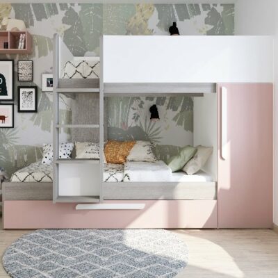 Fleet Bunk Bed with Underbed Trundle (Bo7) - Molina/White/Pink by Trasman