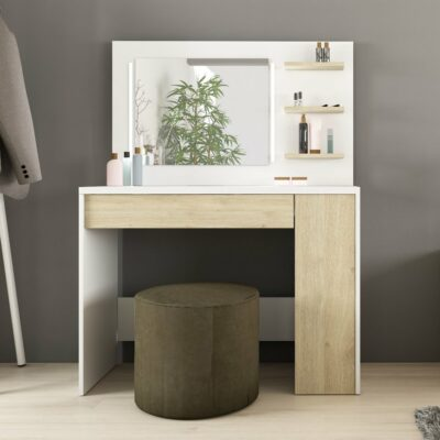 Glamour Dressing Table - Natural Oak/White by Trasman