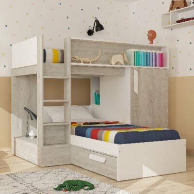 Knox Bunk Bed (Bo6) - Cascina/White by Trasman
