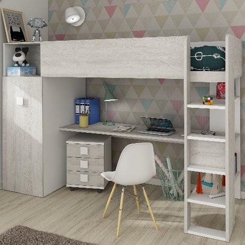 Studio High Sleeper Bed with Wardrobe & 2 USB Kits (Bo2) - White/Cascina by Trasman