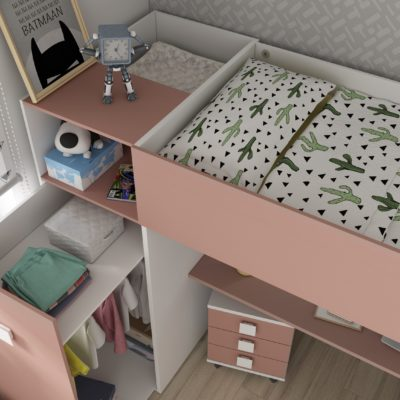 Studio High Sleeper Bed with Wardrobe & 2 USB Kits (Bo2) - White/Pink by Trasman