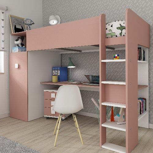Studio High Sleeper Bed with Wardrobe & 2 USB Kits (Bo2) - White/Pink by Trasman